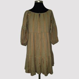 NWT Boho Embroidered Peasant Tiered Dress S